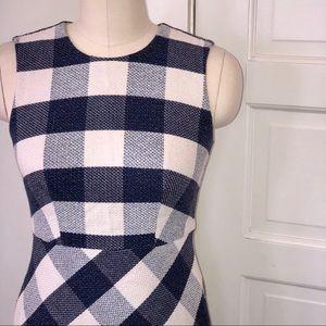 Ann Taylor | Gingham navy blue dress